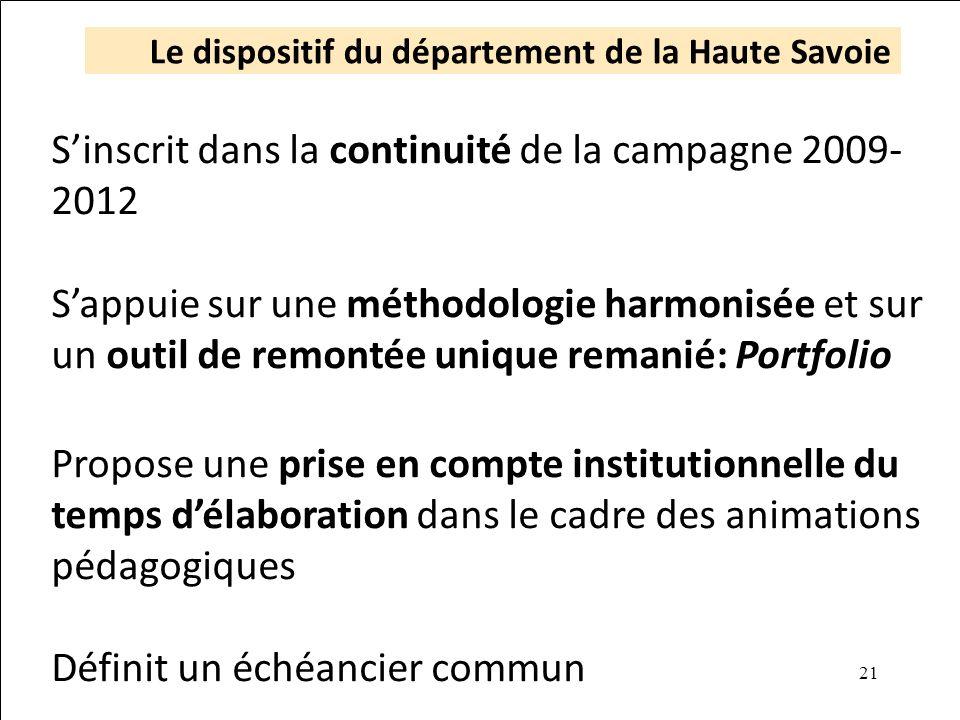 21 Le dispositif du département de la Haute Savoie Sinscrit dans la continuité de la campagne 2009- 2012 Sappuie sur une méthodologie harmonisée et su