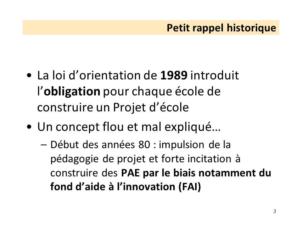 Petit rappel historique La loi dorientation de 1989 introduit lobligation pour chaque école de construire un Projet décole Un concept flou et mal expl