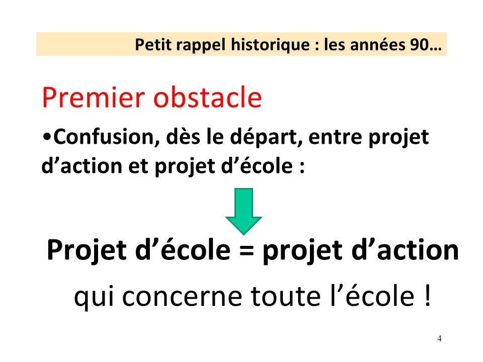 Petit rappel historique : les années 90… Premier obstacle Confusion, dès le départ, entre projet daction et projet décole : Projet décole = projet dac