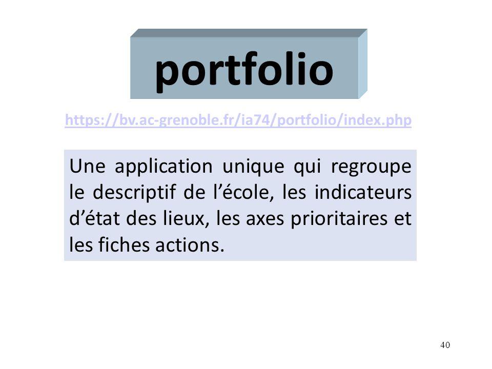 40 portfolio Une application unique qui regroupe le descriptif de lécole, les indicateurs détat des lieux, les axes prioritaires et les fiches actions