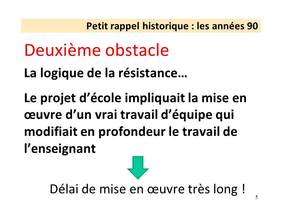 Petit rappel historique : les années 90 Deuxième obstacle La logique de la résistance… Le projet décole impliquait la mise en œuvre dun vrai travail d
