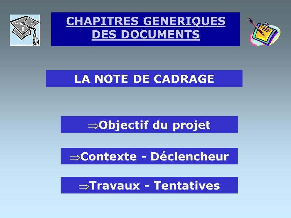 LA NOMINATION DU CHEF DE PROJET Nom de l étudiant Tuteur pédagogique Pouvoir de décision Pouvoir de validation CHAPITRES GENERIQUES DES DOCUMENTS