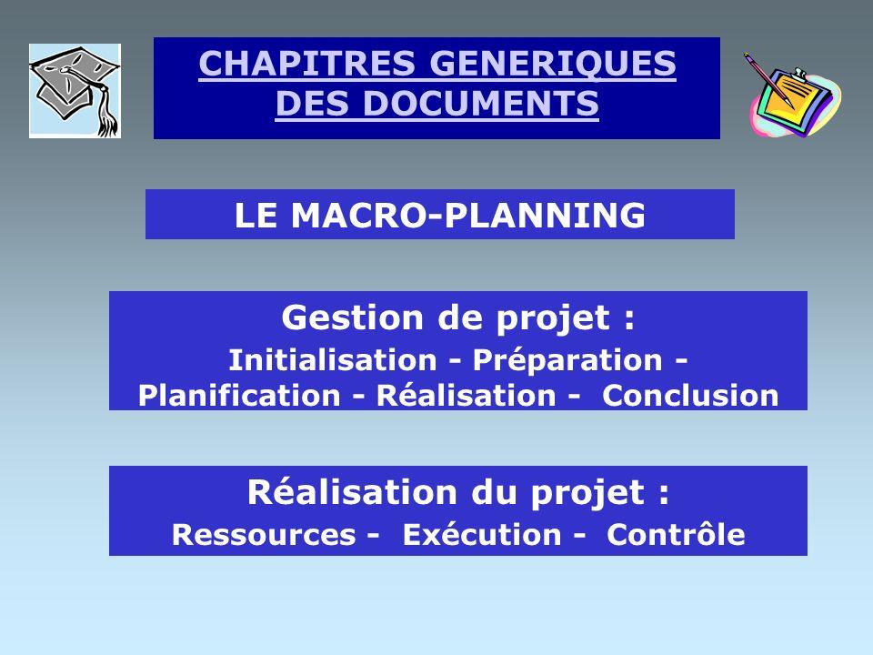LA NOTE DE CADRAGE But du projet détaillé Contraintes sur objectifs Adéquation entre les objectifs Finalisation et Signatures CHAPITRES GENERIQUES DES