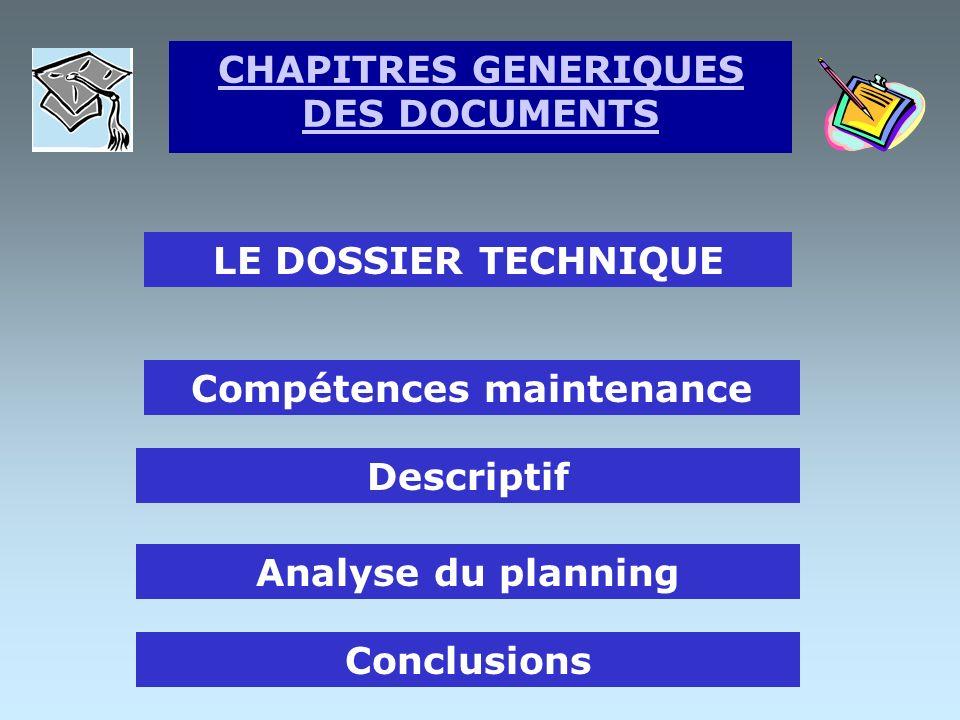 LE DOSSIER TECHNIQUE Plan du dossier technique Objectif du projet Analyse du problème Justification des solutions CHAPITRES GENERIQUES DES DOCUMENTS