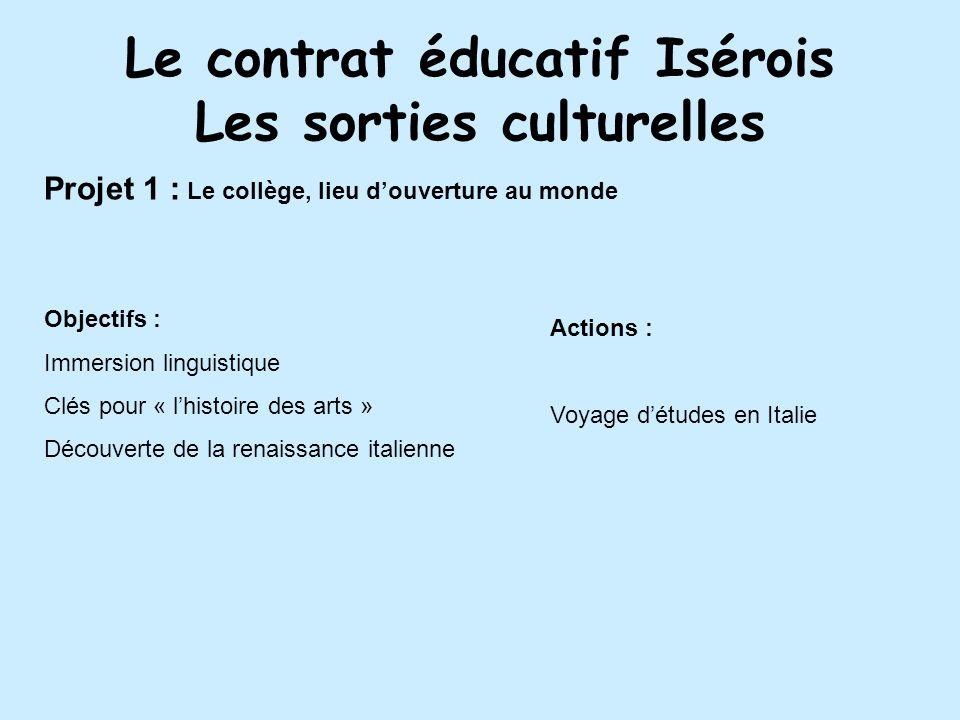 Le contrat éducatif Isérois Les sorties culturelles Projet 1 : Le collège, lieu douverture au monde Objectifs : Immersion linguistique Clés pour « lhi