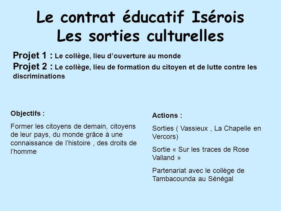 Le contrat éducatif Isérois Les sorties culturelles Projet 1 : Le collège, lieu douverture au monde Projet 2 : Le collège, lieu de formation du citoye