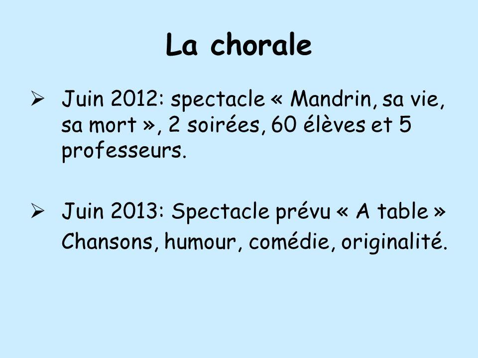 La chorale Juin 2012: spectacle « Mandrin, sa vie, sa mort », 2 soirées, 60 élèves et 5 professeurs. Juin 2013: Spectacle prévu « A table » Chansons,