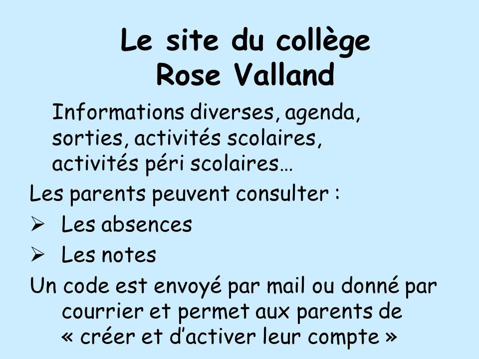 Le site du collège Rose Valland Les parents peuvent consulter : Les absences Les notes Un code est envoyé par mail ou donné par courrier et permet aux