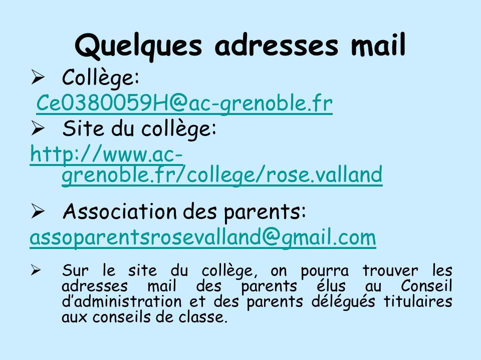 Quelques adresses mail Collège: Ce0380059H@ac-grenoble.fr Site du collège: http://www.ac- grenoble.fr/college/rose.valland Association des parents: as