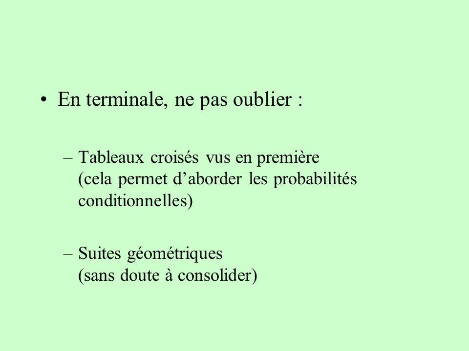 En terminale, ne pas oublier : –Tableaux croisés vus en première (cela permet daborder les probabilités conditionnelles) –Suites géométriques (sans do