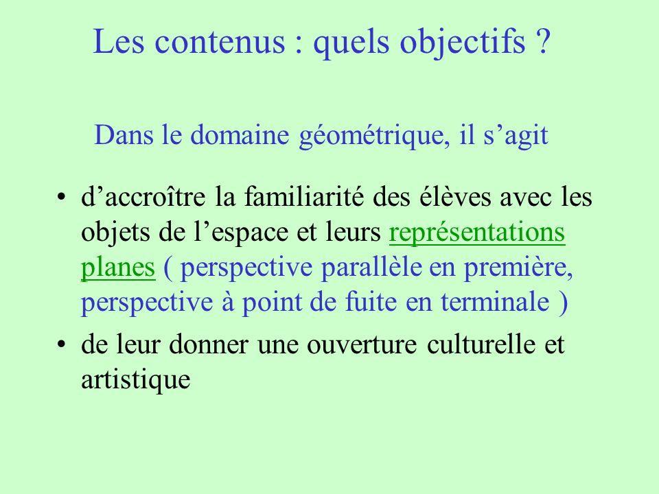 Les contenus : quels objectifs ? Dans le domaine géométrique, il sagit daccroître la familiarité des élèves avec les objets de lespace et leurs représ