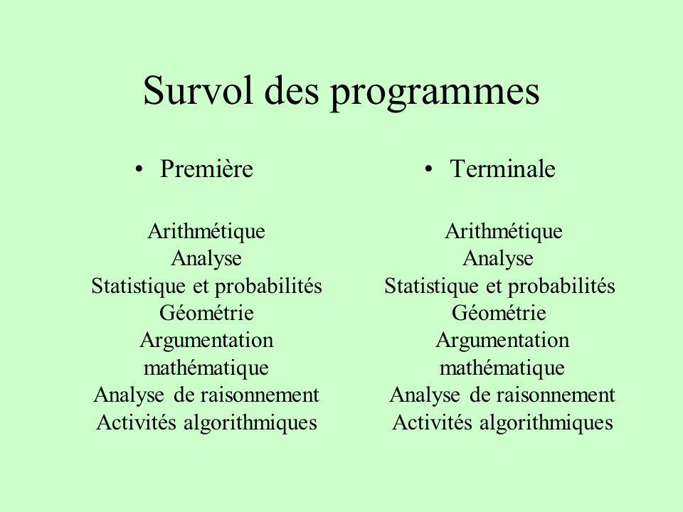Survol des programmes Première Arithmétique Analyse Statistique et probabilités Géométrie Argumentation mathématique Analyse de raisonnement Activités