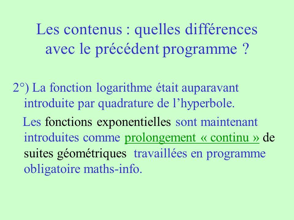 Les contenus : quelles différences avec le précédent programme ? 2°) La fonction logarithme était auparavant introduite par quadrature de lhyperbole.