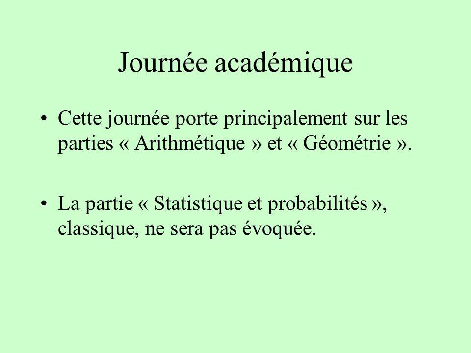 Journée académique Cette journée porte principalement sur les parties « Arithmétique » et « Géométrie ». La partie « Statistique et probabilités », cl