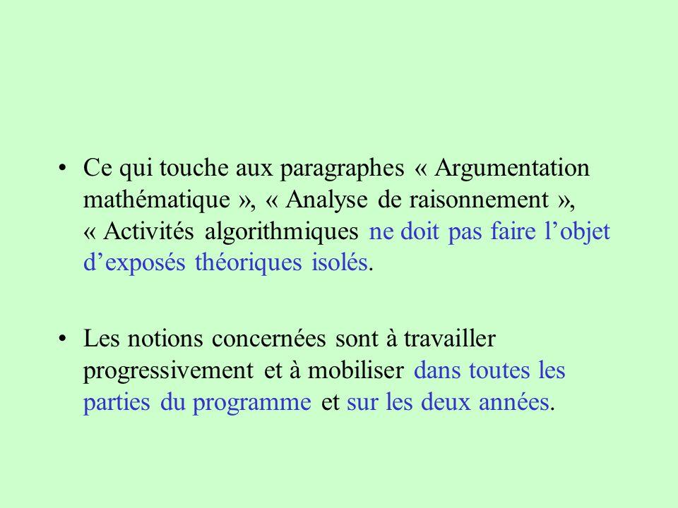 Ce qui touche aux paragraphes « Argumentation mathématique », « Analyse de raisonnement », « Activités algorithmiques ne doit pas faire lobjet dexposé