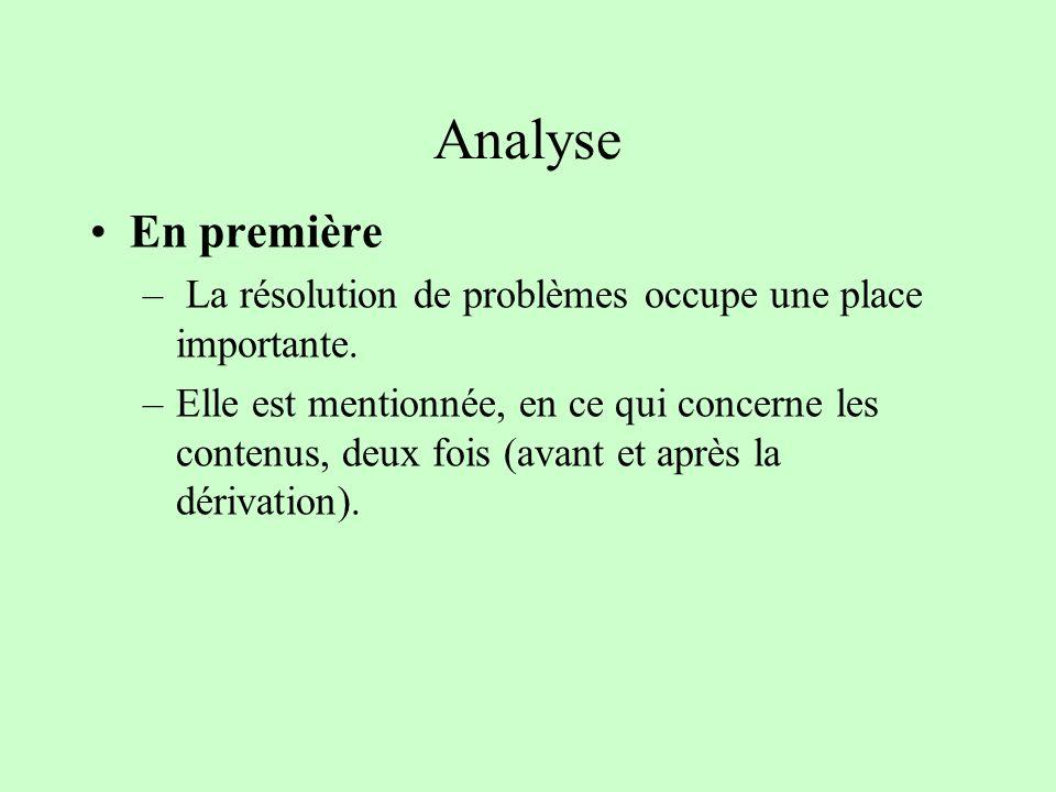 Analyse En première – La résolution de problèmes occupe une place importante. –Elle est mentionnée, en ce qui concerne les contenus, deux fois (avant