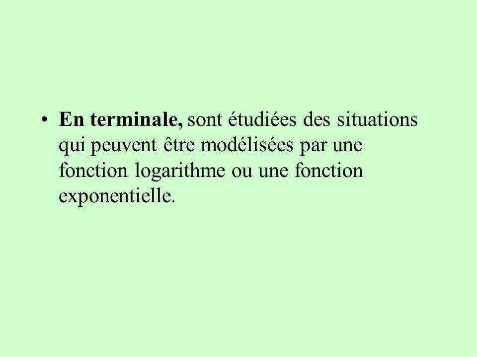 En terminale, sont étudiées des situations qui peuvent être modélisées par une fonction logarithme ou une fonction exponentielle.