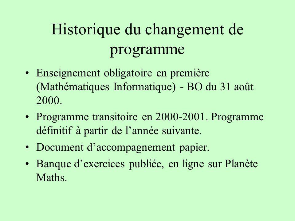 Historique du changement de programme Enseignement obligatoire en première (Mathématiques Informatique) - BO du 31 août 2000. Programme transitoire en