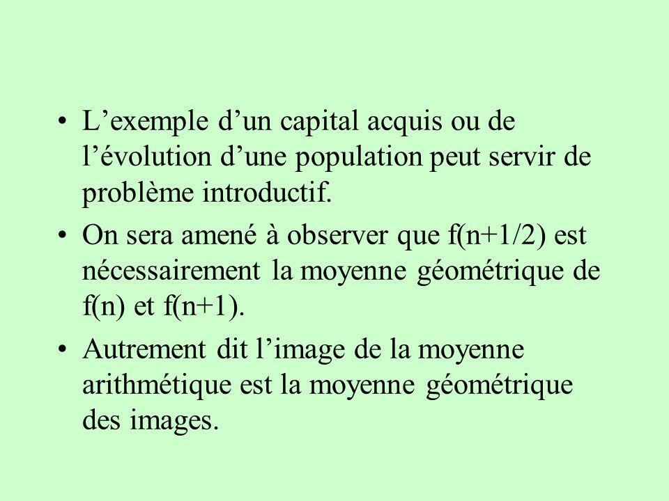 Lexemple dun capital acquis ou de lévolution dune population peut servir de problème introductif. On sera amené à observer que f(n+1/2) est nécessaire
