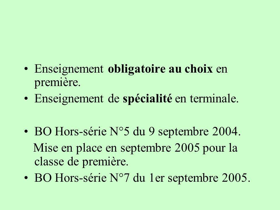 Enseignement obligatoire au choix en première. Enseignement de spécialité en terminale. BO Hors-série N°5 du 9 septembre 2004. Mise en place en septem
