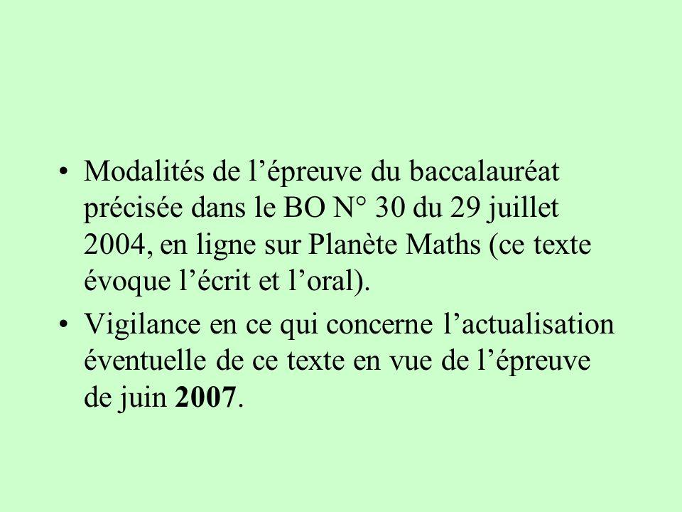 Modalités de lépreuve du baccalauréat précisée dans le BO N° 30 du 29 juillet 2004, en ligne sur Planète Maths (ce texte évoque lécrit et loral). Vigi