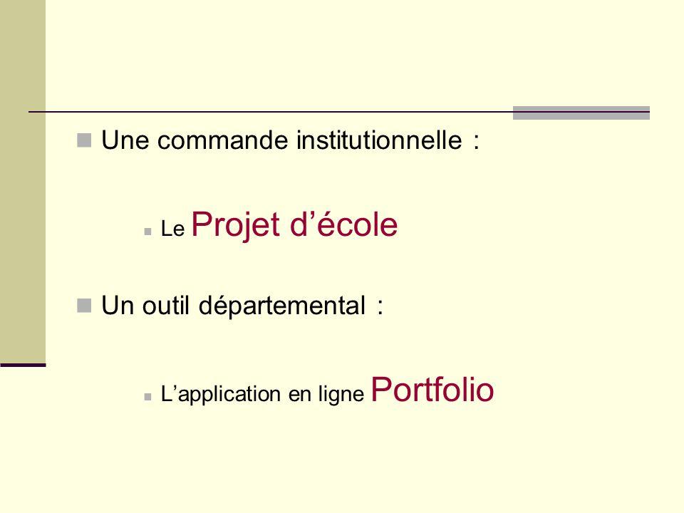 Une commande institutionnelle : Le Projet décole Un outil départemental : Lapplication en ligne Portfolio