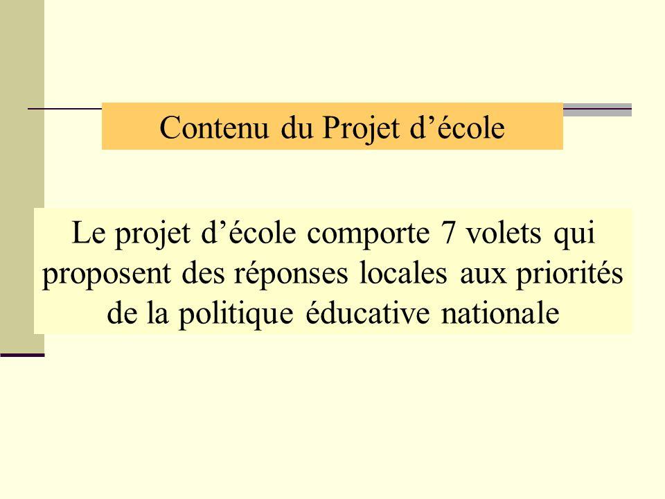 Le projet décole comporte 7 volets qui proposent des réponses locales aux priorités de la politique éducative nationale Contenu du Projet décole