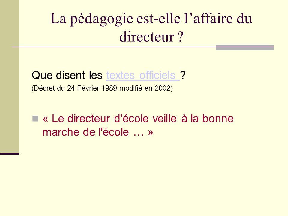 Que disent les textes officiels textes officiels (Décret du 24 Février 1989 modifié en 2002) « Le directeur d école veille à la bonne marche de l école … »