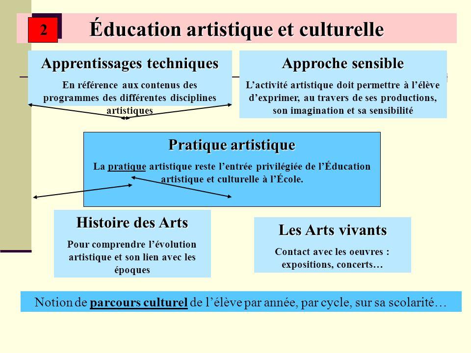 Éducation artistique et culturelle Pratique artistique La pratique artistique reste lentrée privilégiée de lÉducation artistique et culturelle à lÉcole.