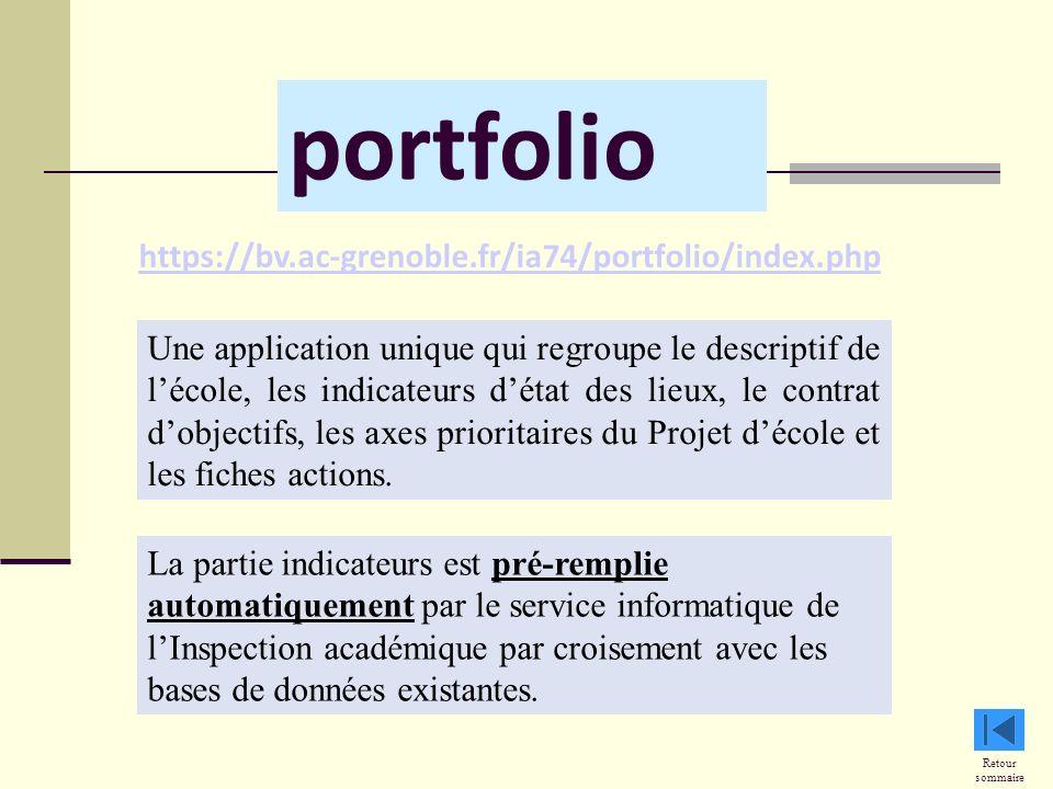 portfolio Retour sommaire La partie indicateurs est pré-remplie automatiquement par le service informatique de lInspection académique par croisement avec les bases de données existantes.