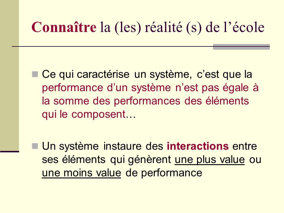 Connaître la (les) réalité (s) de lécole Ce qui caractérise un système, cest que la performance dun système nest pas égale à la somme des performances des éléments qui le composent… Un système instaure des interactions entre ses éléments qui génèrent une plus value ou une moins value de performance