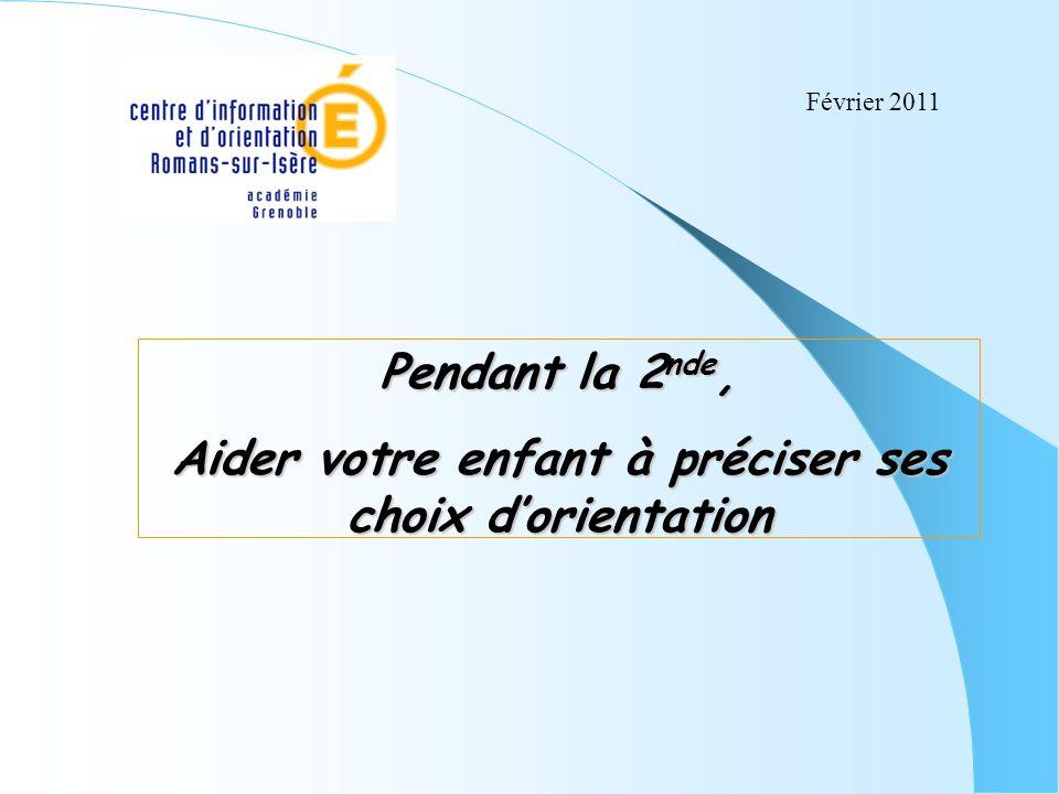 Pendant la 2 nde, Aider votre enfant à préciser ses choix dorientation Février 2011