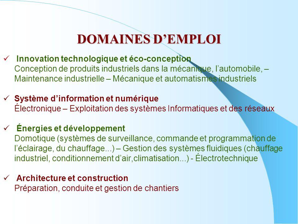 DOMAINES DEMPLOI Innovation technologique et éco-conception Conception de produits industriels dans la mécanique, lautomobile, – Maintenance industrie