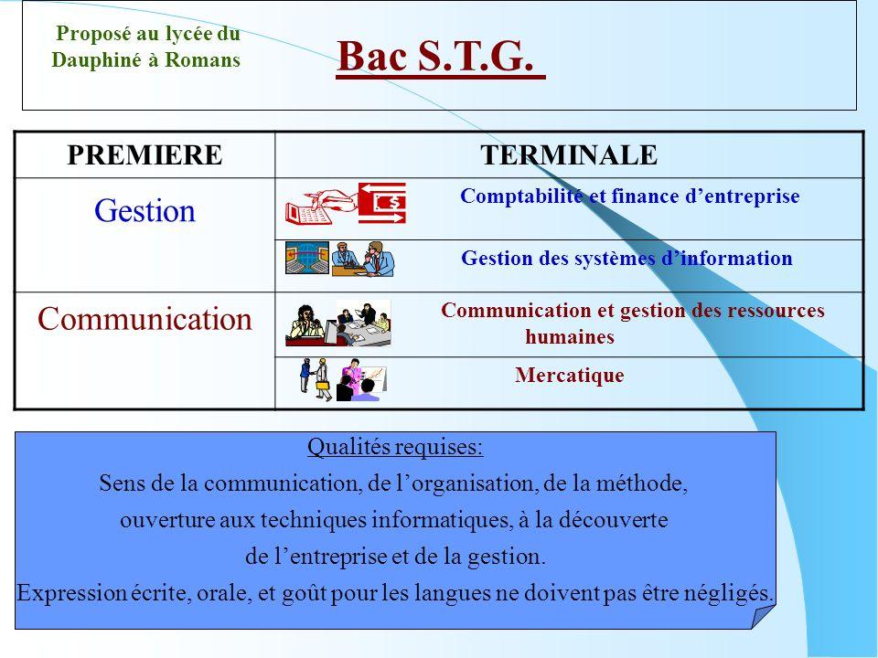 Bac S.T.G. PREMIERETERMINALE Gestion Comptabilité et finance dentreprise Gestion des systèmes dinformation Communication Communication et gestion des