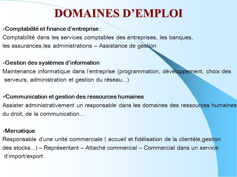 DOMAINES DEMPLOI Comptabilité et finance dentreprise : Comptabilité dans les services comptables des entreprises, les banques, les assurances,les admi