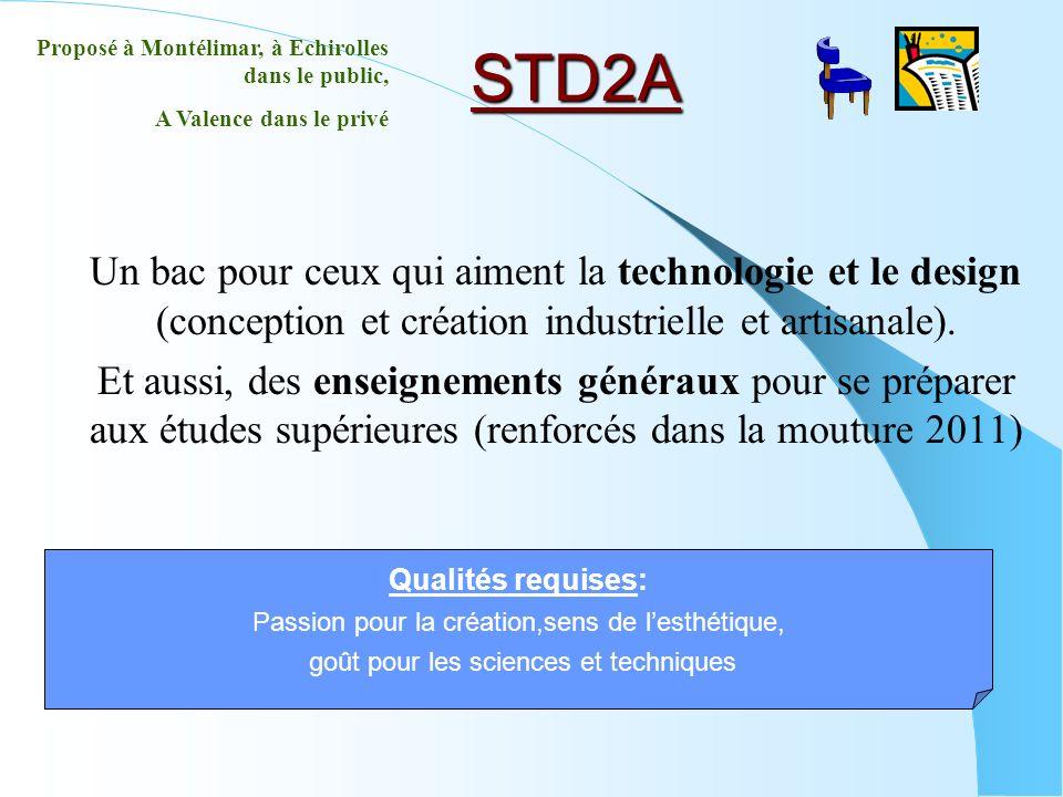 STD2A Un bac pour ceux qui aiment la technologie et le design (conception et création industrielle et artisanale). Et aussi, des enseignements générau