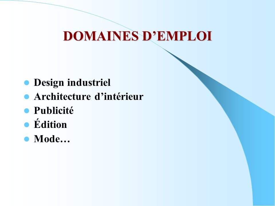 DOMAINES DEMPLOI Design industriel Architecture dintérieur Publicité Édition Mode…