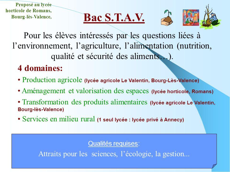 Bac S.T.A.V. Qualités requises: Attraits pour les sciences, lécologie, la gestion... Proposé au lycée horticole de Romans, Bourg-lès-Valence, 4 domain