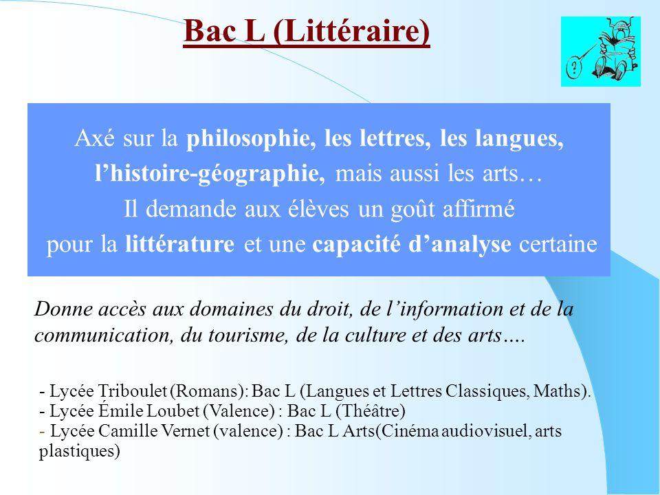 Bac L (Littéraire) - Lycée Triboulet (Romans): Bac L (Langues et Lettres Classiques, Maths). - Lycée Émile Loubet (Valence) : Bac L (Théâtre) - Lycée