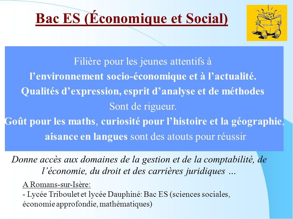 Bac ES (Économique et Social) A Romans-sur-Isère: - Lycée Triboulet et lycée Dauphiné: Bac ES (sciences sociales, économie approfondie, mathématiques)