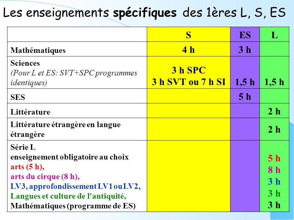 Les enseignements spécifiques des 1ères L, S, ES SESL Mathématiques 4 h3 h Sciences (Pour L et ES: SVT+SPC programmes identiques) 3 h SPC 3 h SVT ou 7