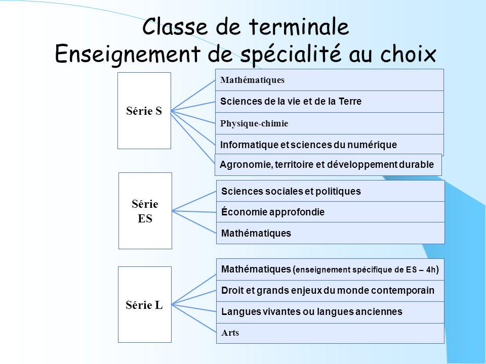 Classe de terminale Enseignement de spécialité au choix Série ES Sciences sociales et politiques Économie approfondie Mathématiques Série L Arts Langu