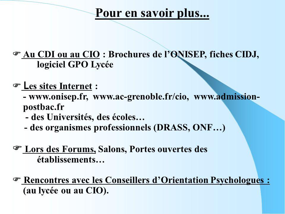 Au CDI ou au CIO : Brochures de lONISEP, fiches CIDJ, logiciel GPO Lycée L es sites Internet : - www.onisep.fr, www.ac-grenoble.fr/cio, www.admission- postbac.fr - des Universités, des écoles… - des organismes professionnels (DRASS, ONF…) Lors des Forums, Salons, Portes ouvertes des établissements… Rencontres avec les Conseillers dOrientation Psychologues : (au lycée ou au CIO).