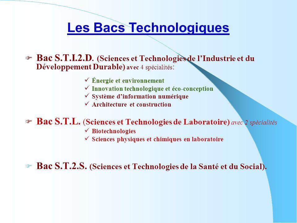 Bac S.T.I.2.D. (Sciences et Technologies de lIndustrie et du Développement Durable) avec 4 spécialités : Énergie et environnement Innovation technolog