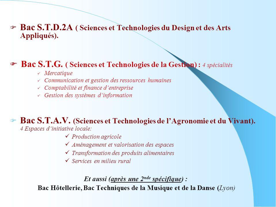 Bac S.T.D.2A ( Sciences et Technologies du Design et des Arts Appliqués). Bac S.T.G. ( Sciences et Technologies de la Gestion) : 4 spécialités Mercati