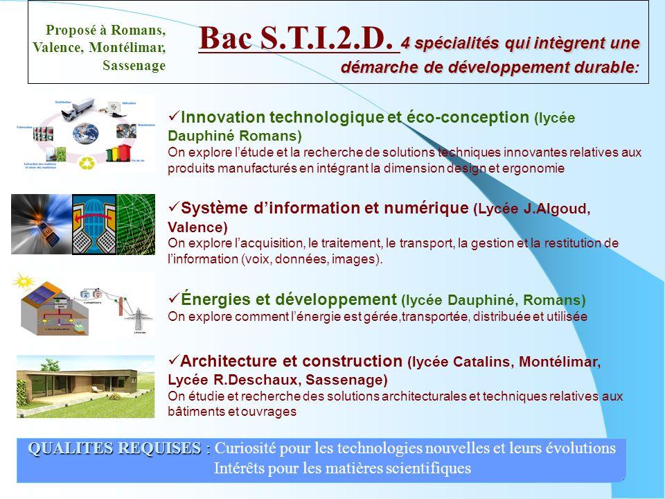 Innovation technologique et éco-conception (lycée Dauphiné Romans) On explore létude et la recherche de solutions techniques innovantes relatives aux