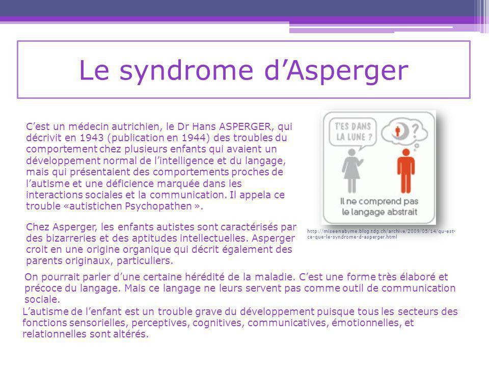 Le syndrome dAsperger On pourrait parler dune certaine hérédité de la maladie.