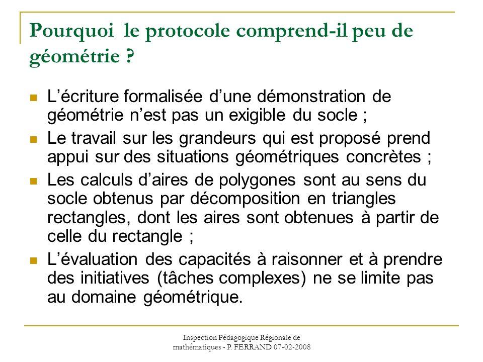 Inspection Pédagogique Régionale de mathématiques - P. FERRAND 07-02-2008 Pourquoi le protocole comprend-il peu de géométrie ? Lécriture formalisée du