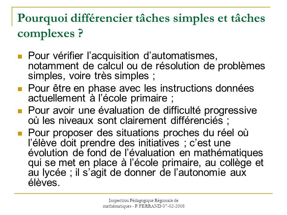 Inspection Pédagogique Régionale de mathématiques - P. FERRAND 07-02-2008 Pourquoi différencier tâches simples et tâches complexes ? Pour vérifier lac