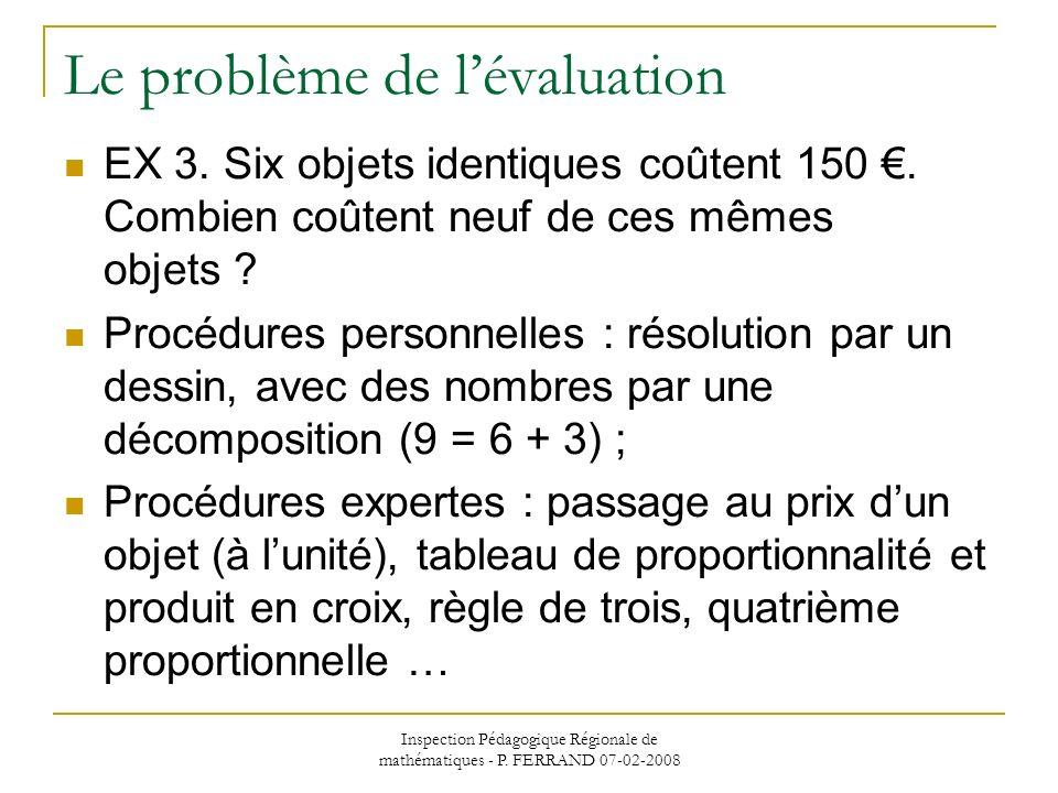 Inspection Pédagogique Régionale de mathématiques - P. FERRAND 07-02-2008 Le problème de lévaluation EX 3. Six objets identiques coûtent 150. Combien
